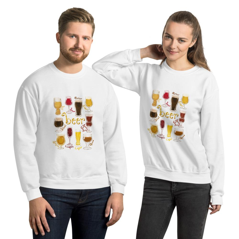 A man and woman wearing the Beer Lovers Unisex Sweatshirt in the colour white, featuring an illustration of 10 styles of beer in 10 different glasses