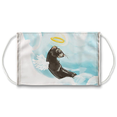 A white reusable face mask, printed with art of a black ferret as an angel, with a halo and angel wings, on top of clouds