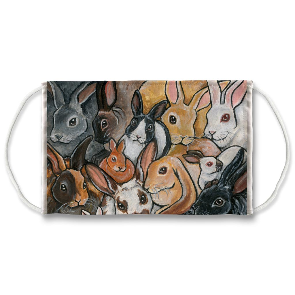 A reusable mask features art of many different types of rabbit breeds