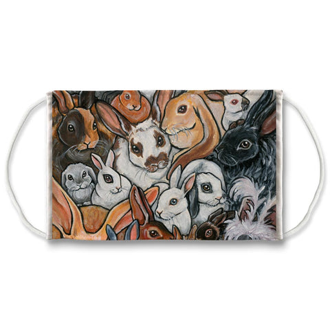 A washable and reusable face mask features an art collage of different rabbit breeds.