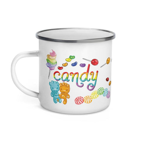 The Candy Lovers Enamel Mug is a white 12 oz mug, printed with 10 different types of candy in rainbow colours