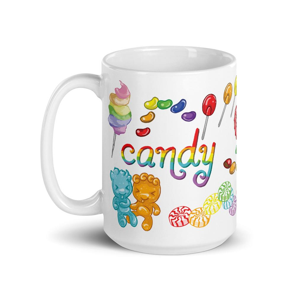 The Candy Lovers Mug, 15 oz size, features 10 different types of candy in all the colours of the rainbow