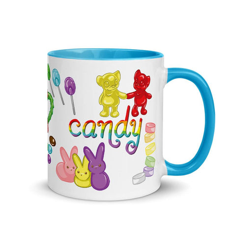 The Candy Lovers Mug with Colour is a white 11 oz ceramic mug with blue trim and handle, printed with 10 different candies in rainbow colours