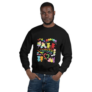 A man wearing the Candy Lovers Unisex Sweatshirt in the colour black. It features ten different types of candy in rainbow colours