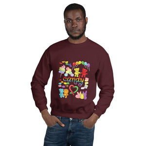 A man wearing the Candy Lovers Unisex Sweatshirt in the colour maroon. It features a graphic of ten different types of candy in rainbow colours