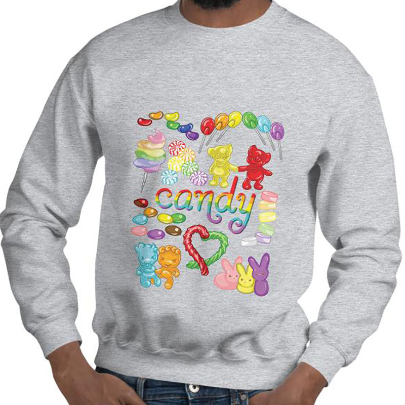 A man wearing the Candy Lovers Unisex Sweatshirt in the colour sport grey. It features a print of ten different types of candy in rainbow colours