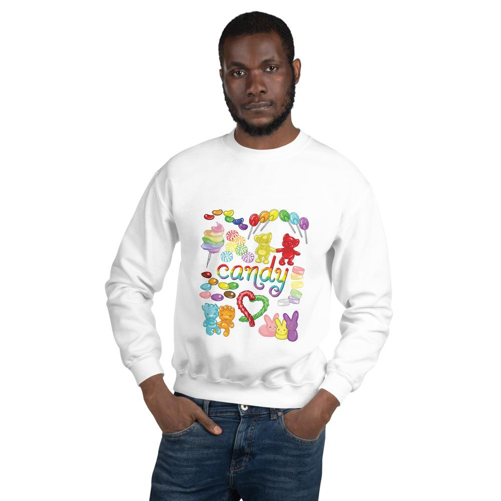 A man wearing the Candy Lovers Unisex Sweatshirt in the colour white. It features art of ten different types of candy in rainbow colours