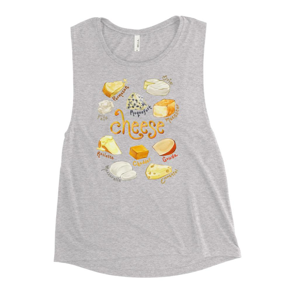 The Cheese Lovers Women's Muscle Tank Top in the colour athletic heather grey, which is printed with an image of 10 different types of cheeses