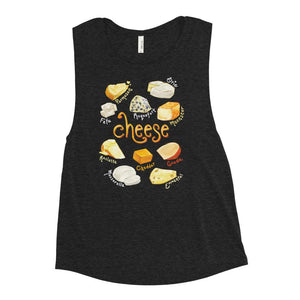 The Cheese Lovers Women's Muscle Tank Top in the colour heather black, which is printed with art of 10 different types of cheeses