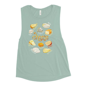 The Cheese Lovers Women's Muscle Tank Top in the colour dusty blue, which is printed with artwork of 10 different types of cheeses