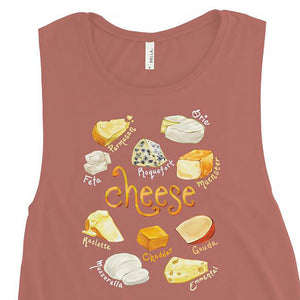 The Cheese Lovers Women's Muscle Tank Top in the colour mauve, which is printed with an image of 10 different types of cheeses