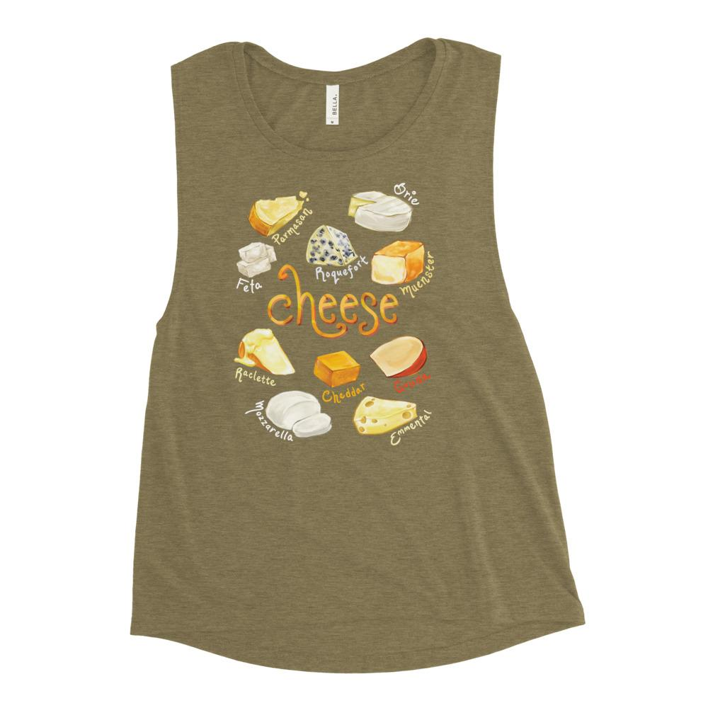 The Cheese Lovers Women's Muscle Tank Top in the colour olive green, which is printed with an illustration of 10 different types of cheeses