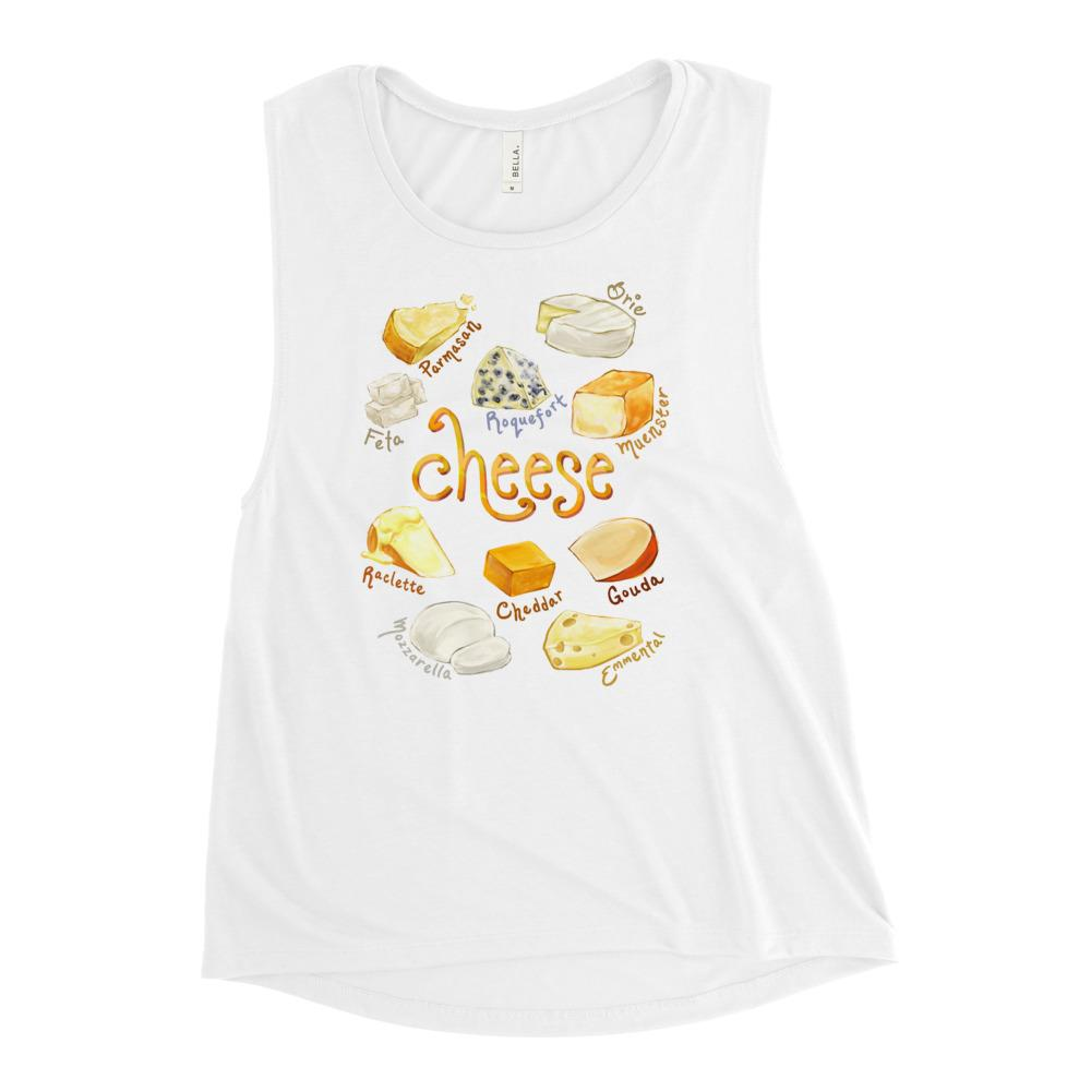 The Cheese Lovers Women's Muscle Tank Top in the colour white, which is printed with a graphic of 10 different types of cheeses