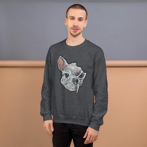 A man wears a unisex sweatshirt in the colour dark heather grey, which is printed with art of a split image: the left side features a chinchilla's face and the right side features an evil looking chinchilla skull