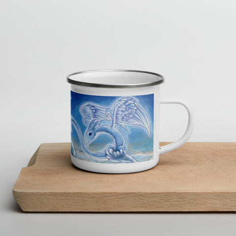 A 12 oz white enamel mug wtih silver rim, is printed with art of a cloud dragon flying in the sky
