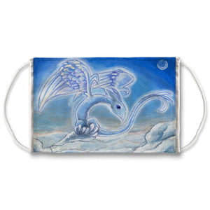 A reusable face mask, features art of a blue dragon with angel wings, flying over the clouds