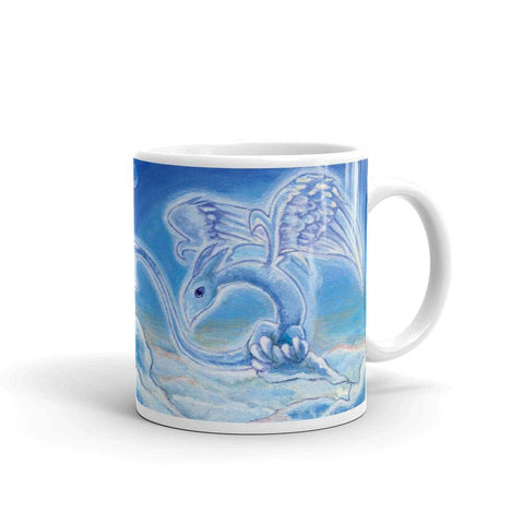 A 11 oz ceramic coffee mug, printed with an image of a cloud dragon flying over the clouds