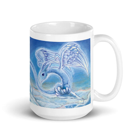 A 15 oz ceramic coffee mug, printed with art of a cloud dragon flying over the clouds