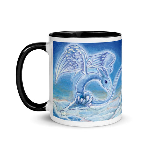 A 11 oz white ceramic coffee mug, with trim in the colour black, printed with a painting of a cloud dragon flying over the clouds