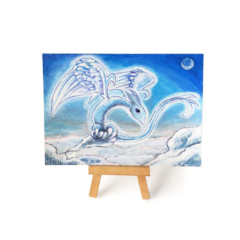 Original art, painted with acrylics on watercolour paper, of a cloud dragon, spreading its wings as it rearranges the clouds in the blue sky.