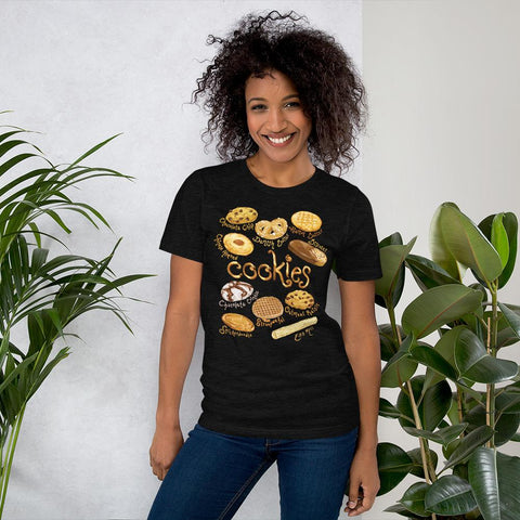 A woman is wearing the Cookie Lovers Unisex Premium T-shirt in the colour black heather, features art of 10 different types of cookies.