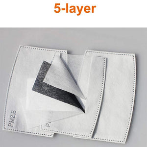 PM2.5 filters includes 5 layers of protection from dust or pollution