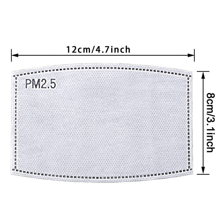 PM2.5 filters measure 4.7 inches by 3.1 inches, or 12 cm by 8 cm
