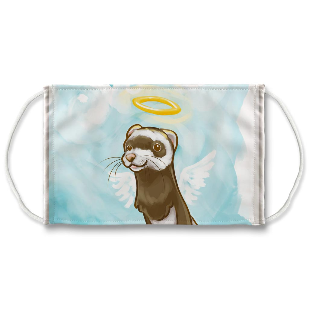A white reusable face mask with art of a ferret with angel wings and a halo
