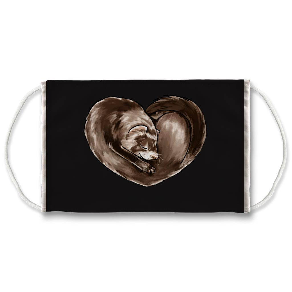 A black reusable face mask printed with art of a ferret in the shape of a heart.