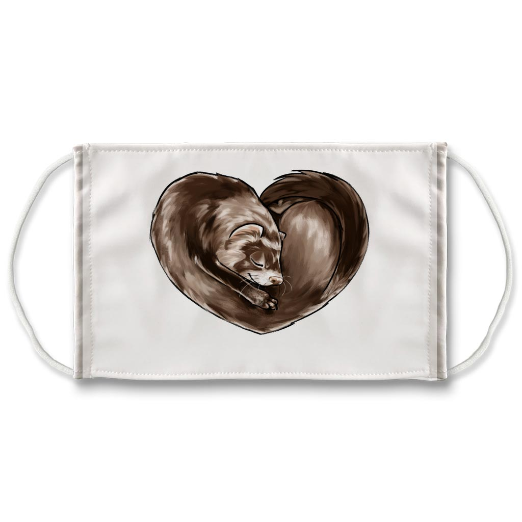 A white reusable face mask printed with art of a ferret, curled up in the shape of a heart