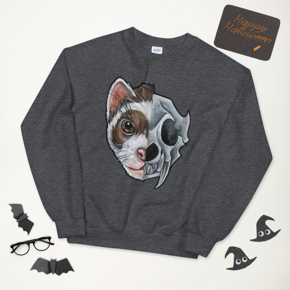 A unisex sweatshirt in the colour dark heather grey, features a print of a split image: a ferret's face in the left side, and an evil ferret skull on the other.