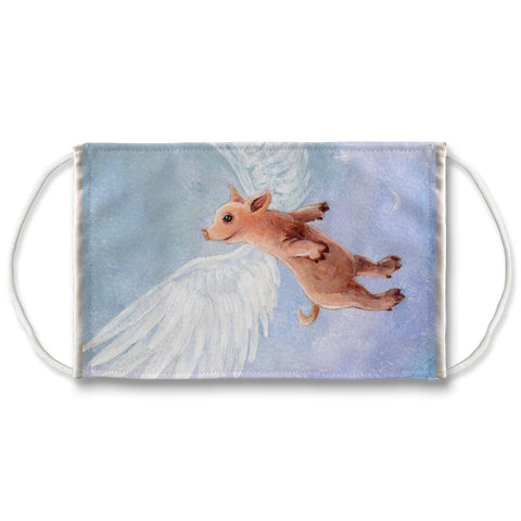 a reusable printed with art of a flying pig in the blue sky