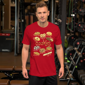 A man wearing the Happy Cookies Premium Unisex T-Shirt in the colour red, featuring a graphic of ten different types of cookies with smiling faces