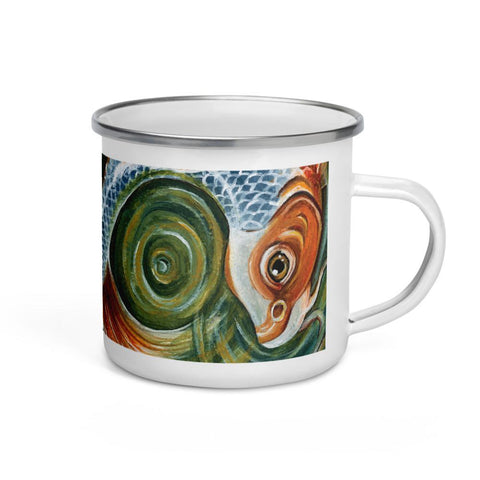 A white 12 oz enamel mug, printed with an illustration of a koi fish swimming. Art is from the World card from the Animism Tarot.