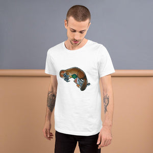 A man is wearing the Platypus Duck Premium T-Shirt in the colour white, which is printed with art of platypus kissing a mallard duck