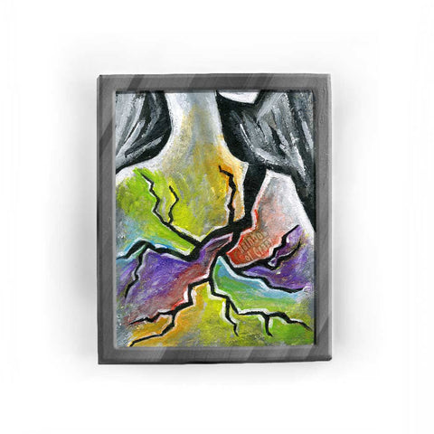 A surreal art print, showing a figure's shoulder breaking into a large crack that takes over the body in rainbow colours
