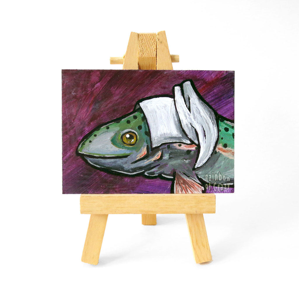 Tilly the Trout - ACEO Painting