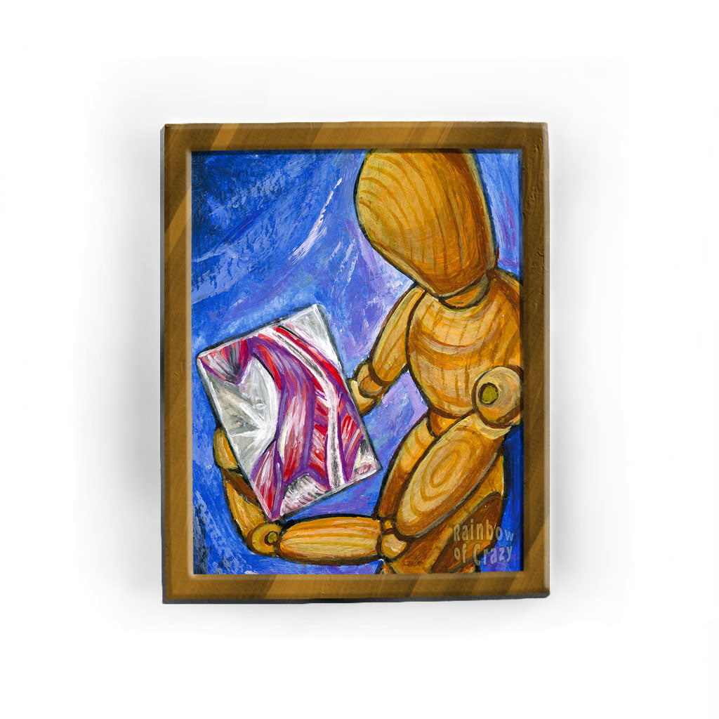This illustration shows a wood mannequin holding a painting of a human's muscular system
