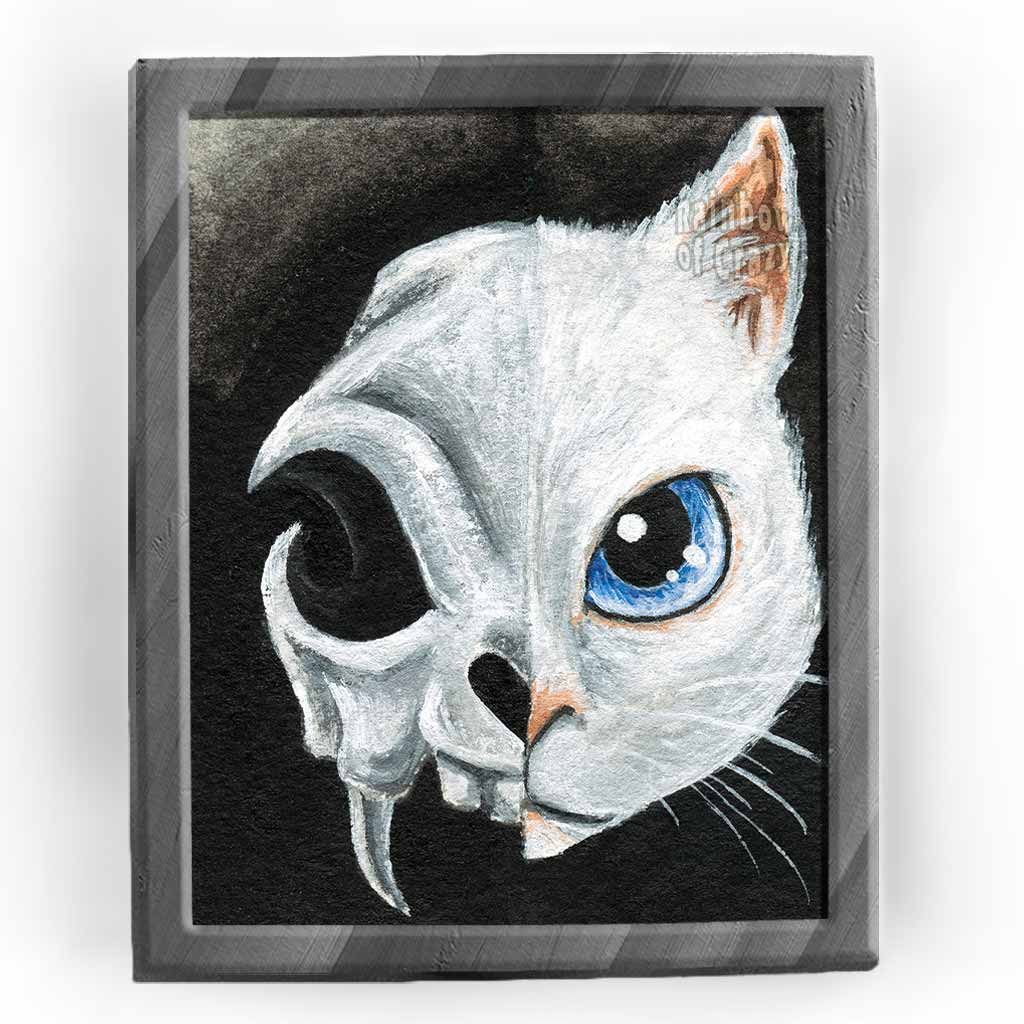An art print featuring the face of a blue eyed white cat on the right side, and a stylized cat skull on the left side.