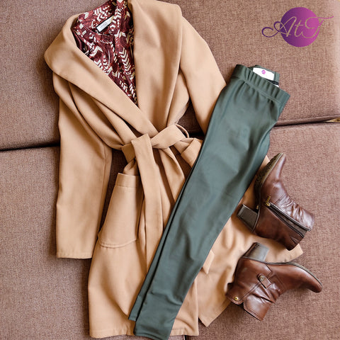 Friday - Business outfit with olive green leggings