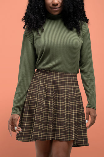 Ebony Tartan Skater Skirt for Women