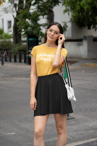 Polka Dots Black Charcoal Gray Skater Skirt for Women
