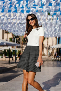 Polka Dots Charcoal Gray Black Skater Skirt for Women