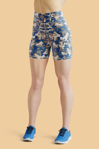 Blues Camo Yoga Shorts