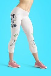 Roses-white-blue-green-gold-elegant-women-urban-capri-leggings