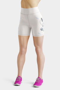 Roses-white-blue-green-gold-elegant-women-yoga-shorts