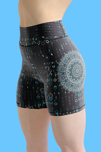 chalchi-aztec-mandala-geometric-navy-blue-jade-green-yoga-shorts