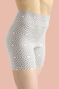 clarity-geometric-white-grey-elegant-chic-yoga-shorts