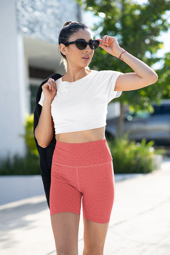 coral-red-geometric-yoga-shorts