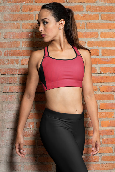 Pink Cyberpunk Padded Sports Bra